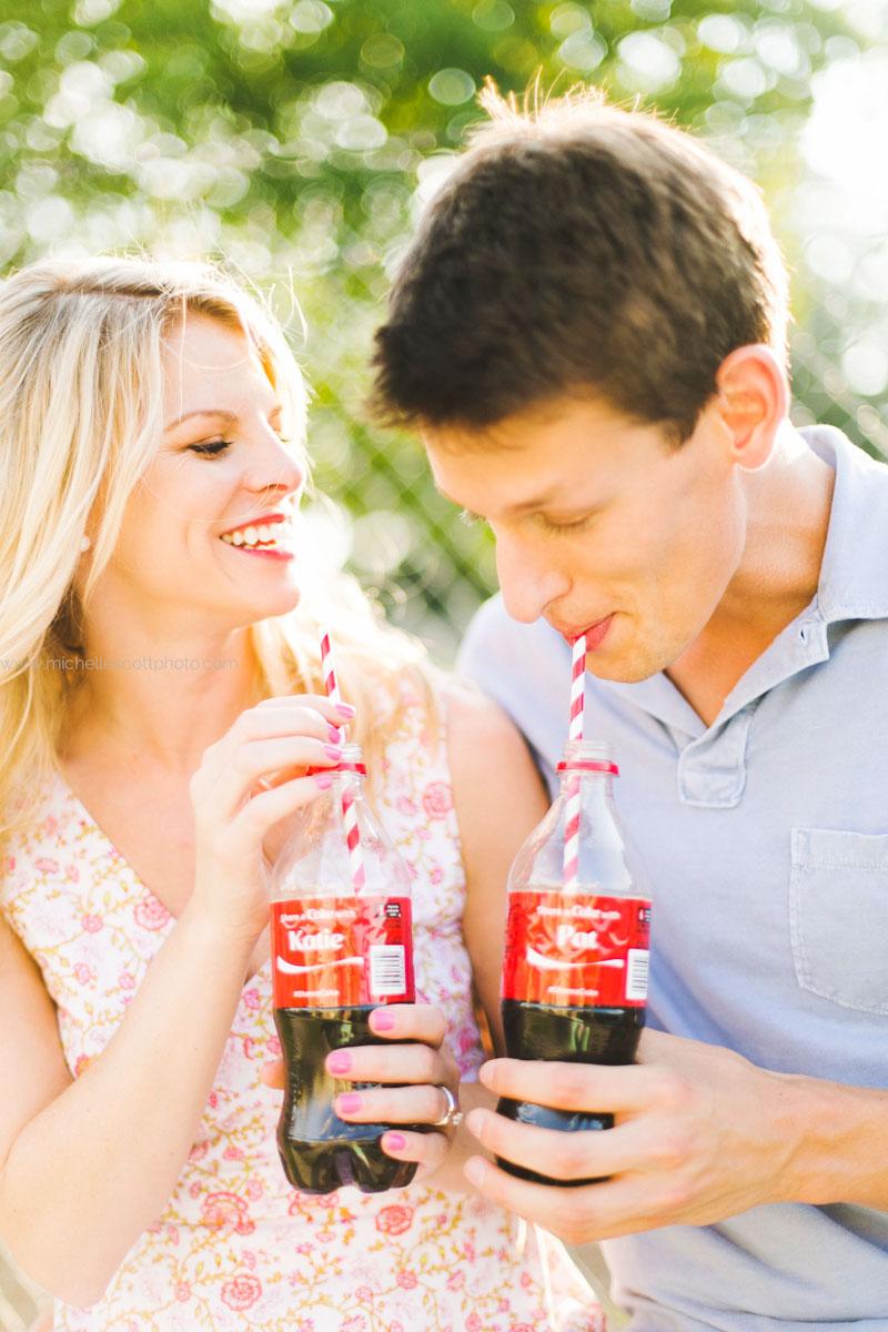 Coca Cola themed engagement session atlanta
