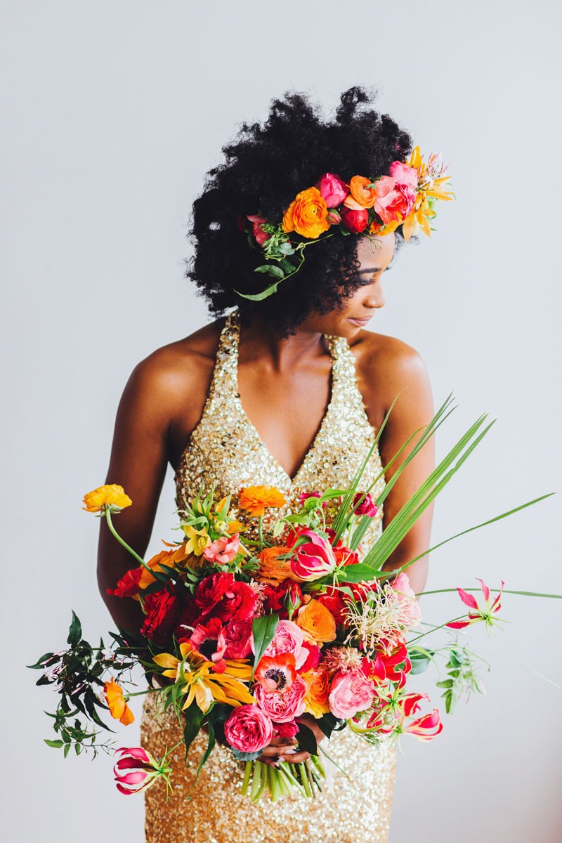 Folly Beach Wedding colorful flowers gold wedding dress