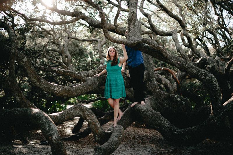 Cumberland Island Engagement with big trees