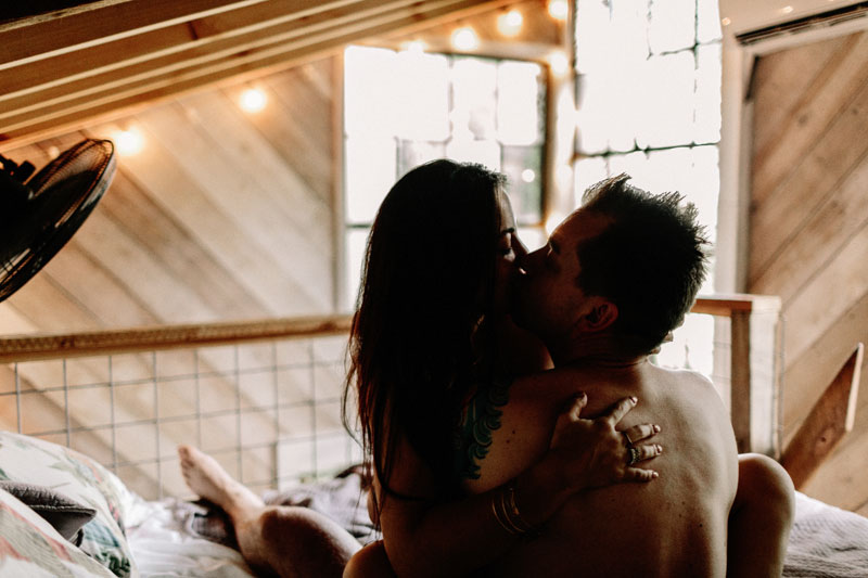 intimate engagement photos in treehouse